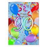 aniversário do 90 - cartão de aniversário do balão