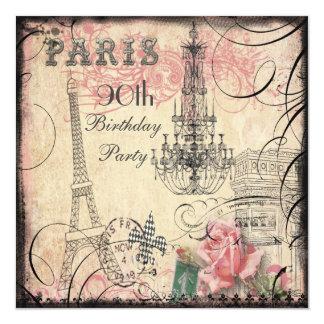 Aniversário do 90 chique da torre Eiffel & do Convite Quadrado 13.35 X 13.35cm