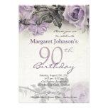 Aniversário do 90 do rosa do roxo da prata esterli