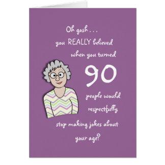aniversário do 90 para o cartão Ela-Engraçado