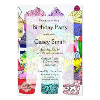 Aniversário do amante do cupcake convite 12.7 x 17.78cm