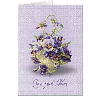 Aniversário do amor perfeito para a sobrinha cartão comemorativo