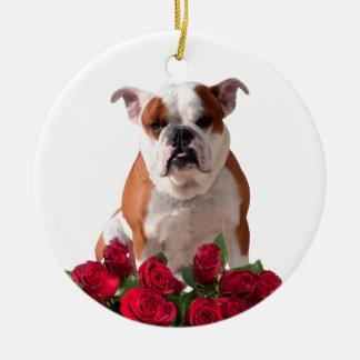 Aniversário do aniversário da flor das rosas ornamento de cerâmica redondo