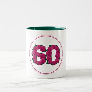 Aniversário do aniversário de 60 números caneca