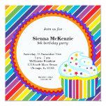 Aniversário do arco-íris convite quadrado 13.35 x 13.35cm