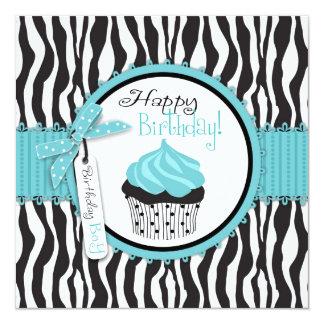 Aniversário do azul do impressão & do cupcake da convite personalizado