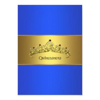 Aniversário do azul e do ouro de Quinceanera 15o Convite 12.7 X 17.78cm