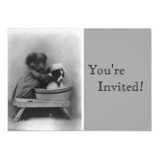 Aniversário do banho dos filhotes de cachorro do convite 12.7 x 17.78cm