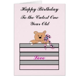 Aniversário do bebê de um ano cartão