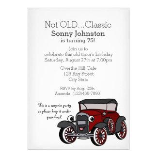 Aniversário do carro antigo convites