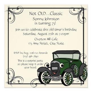 Aniversário do carro antigo convite personalizados