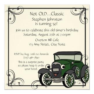Aniversário do carro antigo convite quadrado 13.35 x 13.35cm