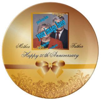 Aniversário do casamento dourado 50th customizável pratos de porcelana