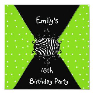 Aniversário do convite branco preto do verde limão
