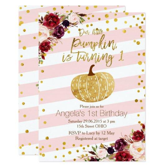 Aniversário do convite do rosa e da abóbora do