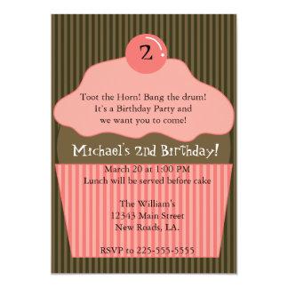 Aniversário do cupcake convite 12.7 x 17.78cm