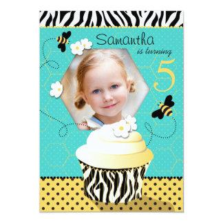 Aniversário do cupcake da abelha do aniversário convite 12.7 x 17.78cm