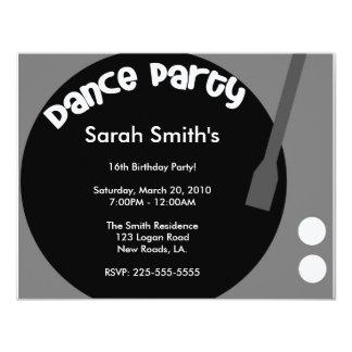 Aniversário do dance party convite personalizados