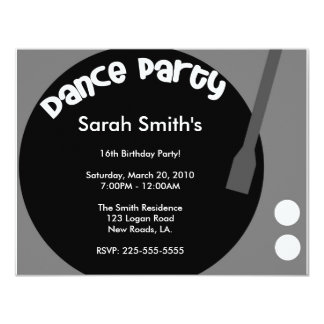 Aniversário do dance party convite 10.79 x 13.97cm