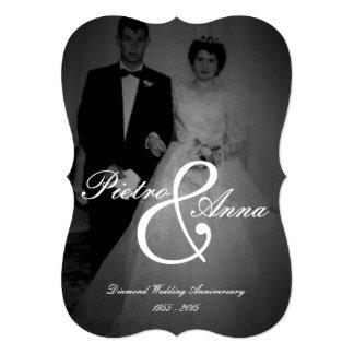 Aniversário do diamante com vintage mim borda do convite 12.7 x 17.78cm