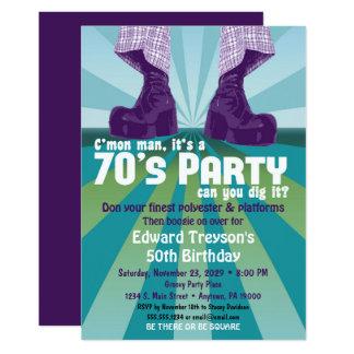 aniversário do disco dos anos 70 do convite de
