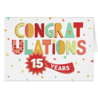 Aniversário do empregado 15 anos de parabéns do cartão comemorativo
