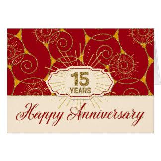 Aniversário do empregado 15 anos - redemoinhos do cartão comemorativo