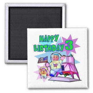 Aniversário do espaço do aniversário de 3 anos ímã quadrado