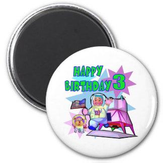 Aniversário do espaço do aniversário de 3 anos imãs de geladeira