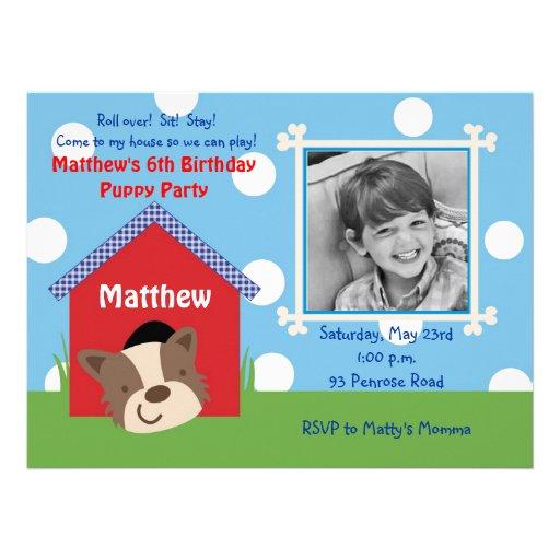 Aniversário do filhote de cachorro convites personalizados