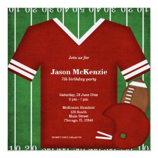 Aniversário do futebol (vermelho) convite quadrado 13.35 x 13.35cm