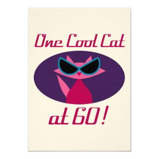 Aniversário do gato legal 60th convite 12.7 x 17.78cm