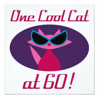 Aniversário do gato legal 60th convite quadrado 13.35 x 13.35cm