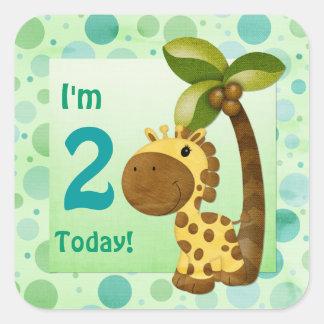 Aniversário do girafa dos pequenos do aniversário adesivo quadrado