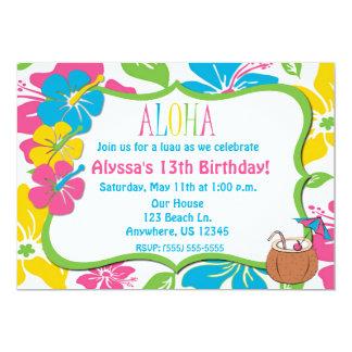 Aniversário do hibiscus ou convite tropical do chá