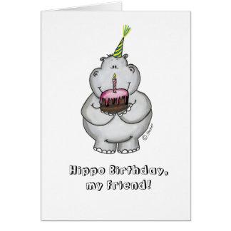 Aniversário do hipopótamo meu amigo - feliz aniver cartão comemorativo