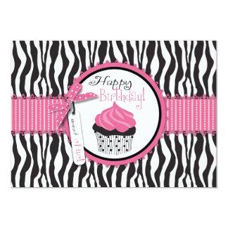 Aniversário do impressão & do cupcake da zebra convite 12.7 x 17.78cm