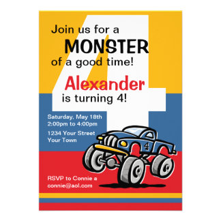 Aniversário do monster truck 4o convites personalizados