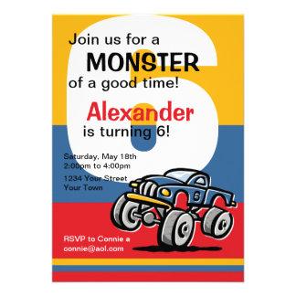Aniversário do monster truck 6o convites
