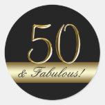 Aniversário do ouro metálico preto 50th adesivo em formato redondo