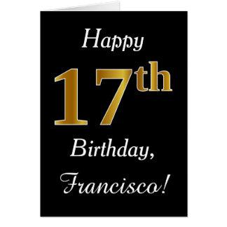 Aniversário do ouro simples do falso 17o + Cartão