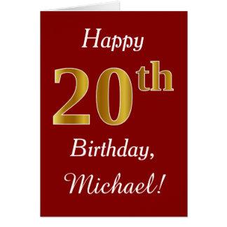 Aniversário do ouro simples do falso 20o + Cartão