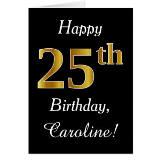 Aniversário do ouro simples do falso 25o + Cartão