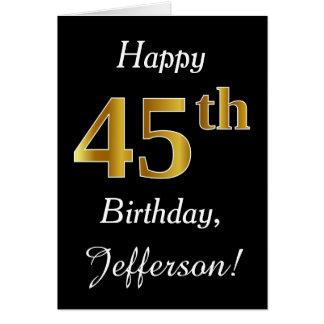 Aniversário do ouro simples do falso 45th + Cartão