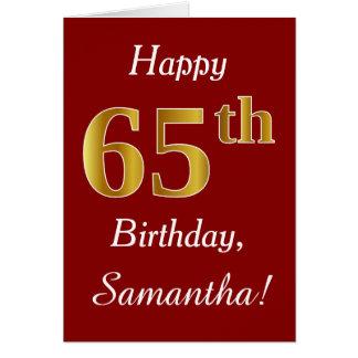 Aniversário do ouro simples do falso 65th + Cartão