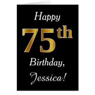 Aniversário do ouro simples do falso 75th + Cartão