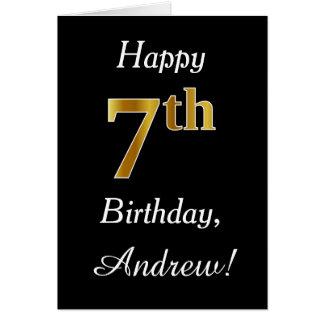 Aniversário do ouro simples do falso 7o + Cartão