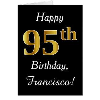 Aniversário do ouro simples do falso 95th + Cartão