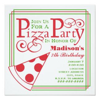 Aniversário do partido da pizza convite quadrado 13.35 x 13.35cm