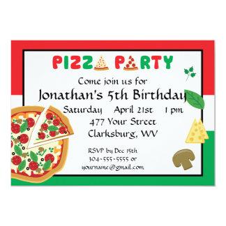 Aniversário do partido da pizza convite personalizados